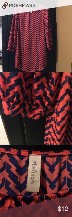 Coral and navy chevron dress Worn once. Baseball hem. Navy and vibrant coral chevron. madison Dresses Midi