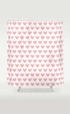 Coral Pink Watercolor Hearts Shower Curtain