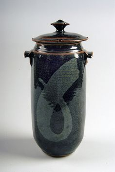 Ron Larsen | Untitled jar, 1992; purchased in Canton, New York; stoneware, iron saturate over woo blue-brown, cone 10, reduction; Gift of American Ceramic Society Collection