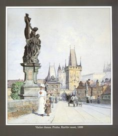 "size: Giclee Print: Statue of St. Lutgardis on the Charles Bridge, Prague, Illustration from ""Stara Praha ,"" circa 1900 by Vaclav Jansa : Artists Pont Charles, Charles Bridge, Great Paintings, Old Paintings, Statues, Socialist Realism, Old Town Square, Prague Castle, Colourful Buildings"