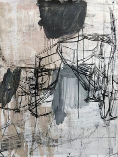 Deborah Dancy, Winter #19 2015, charcoal, gesso, acrylic on paper