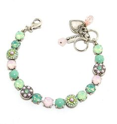 """Amazon.com: Mariana Spirit of Design Antique Silver Plated """"Morning Glory"""" Collection Swarovski Crystal Flower Bracelet in Chrysolite Opal, Rose Water Opal and Pacific Opal: Mariana: Jewelry"""