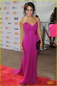 Vanessa Hudgens looks gorgeous in this fuchsia frock!