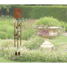 Victorian Garden Wind Chime - Meadow features charming earth-toned butterflies, hummingbirds and dragonflies. Part of the Woodstock Chimes Signature Collection. Amazing Gardens, Beautiful Gardens, Wooden Garden Benches, Garden Poles, Victorian Gardens, Enjoy The Sunshine, Garden Images, Metal Casting, Garden Art