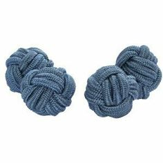 Blue Grey Silk Knot Cufflinks Cuffs & Co. $4.99. A range of over 200 colours and designs. Buy 3 or more pairs to get free delivery. Stretchy silk, simple to attach to shirt. Silk knots, 11mm diameter. Packaged in a protective rigid nylon case