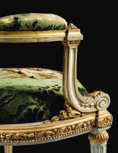 Beau fauteuil à châssis en bois laqué crème rechampi or d'époque Louis XV, vers 1768, attribué à Louis Delanois - Sotheby's