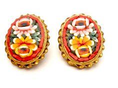 Spring Sale Vintage Mosaic Earrings Italian Oval Red Flower Brass Clip