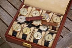 A box of Omega Cosmic watches