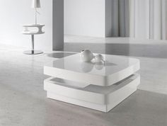 Angel Cerda Modern Coffee Table in Lacquered High Gloss White