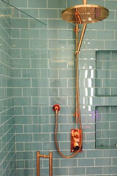 Rose gold shower head and turquoise tiles // bathroom ideas // interior inspo — Create a contemporary twist with these aqua marine turquoise glass metro tiles. Brand new to the UK, find these. Bad Inspiration, Bathroom Inspiration, Bathroom Ideas, Bathroom Inspo, Bathroom Styling, Bathroom Storage, Ideas Baños, Decor Ideas, Tile Ideas
