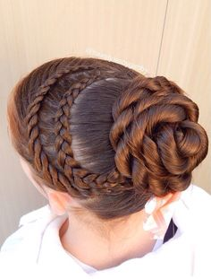 Dance hair 🎀 braid combo: 4 strand lace braid + dutch lace braid + rope twist bun 😋😊 and I am now a model 🎉🎉 so I added one of my new amazing bows from her 👌🏼 Dance Hairstyles, Little Girl Hairstyles, Twist Hairstyles, Pretty Hairstyles, Updo Hairstyle, Wedding Hairstyles, Twist Braids, Twist Bun, Curly Hair Styles
