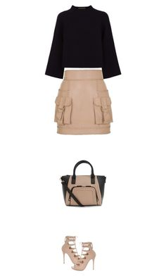 """""""lace up"""" by ecem1 ❤ liked on Polyvore featuring Balmain, Alexander McQueen, Jaeger, women's clothing, women, female, woman, misses and juniors"""