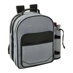 Picnic at Ascot Houndstooth Picnic Backpack for Two Houndstooth (One Size), Black (Fabric)