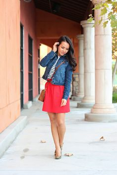 Red skirt, stripes, denim jacket