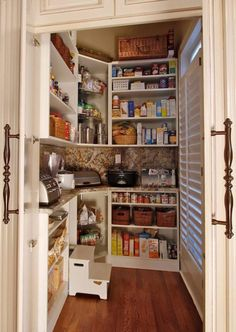 counter inside pantry to store appliances i absolutely love this pantry the counter to hold less frequently used appliances and the steps so the full - Kitchen Storage Pantry