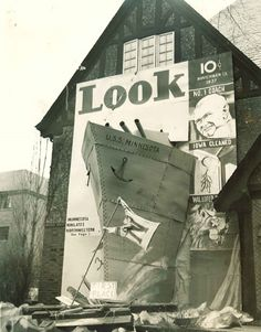Alpha Rho Chi fraternity decorated its house with the U.S.S. Minnesota for the University of Minnesota 1934 Homecoming.