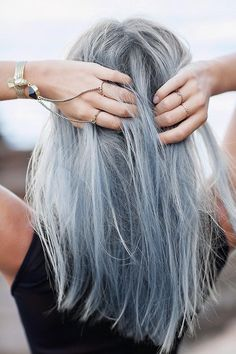 light blue hair with jewels