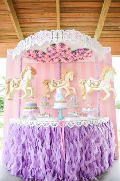 Planning a Party? Bambini Soiree owns South Florida's largest rental collection of custom designed ready-made props for children's celebrations. Carousel Birthday Parties, Carnival Birthday, Unicorn Birthday Parties, Unicorn Party, Baby Birthday, First Birthday Parties, Birthday Decorations, Birthday Party Themes, Birthday Ideas