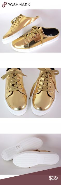"""Metallic Gold Sneaker Slipper Round Toe Lace Up Metallic leatherette (man-made) Heel 1"""" flat Treaded non-skid sole cushioned foot bed with padded insole Closure: Slip on Fits true to size   Actual pictures. No trades please.  Smoke free home.  Open to offers. If you have any questions about this item I will be more than happy to answer them. Cape Robbin Shoes Sneakers"""