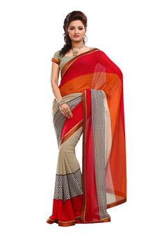 Digital #Orange & Red Printed #Saree Apparels are the only source that helps you to expose your feminine elegance! One should be conscious enough to pick the perfect attire to get spotting persona for any special gathering.Available in 15% Discount @aimdeals