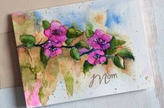 Watercolor Mother's Day card Unique Floral, Hand Painted Watercolor cards, Original Watercolor Card, Watercolor flowers,Just for her,For Mom by sanketi on Etsy