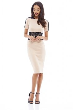Glam up with this 3/4 sleeve with lace contrast and scuba fabric dress, slip on this classic evening dress and make heads turn. Thistrend stopping midi dress is totally sexy with just the right amount of sophistication thrown in too, with and back zip fastening  Approx length from shoulder to hem: 105cm  Fabric composition: 92% Polyester 8% Elastane  Colour: Nude/Black