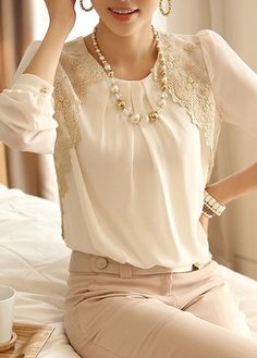 Long Sleeve White Chiffon and Lace Top