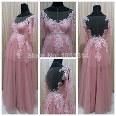 Aliexpress.com : Buy Real Sample Scoop Neckline A line Short Sleeve Long Pink Tulle Appliqued Backless Pregnant Woman Evening Dress 2014 New Arrival from Reliable Evening Dresses suppliers on Lastest Design Fashion Dress Supplier