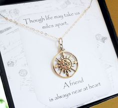 Graduation gift, Compass necklace, Friendship card, compass charm, Friendship necklace, best friends gift, 2013 graduate gift