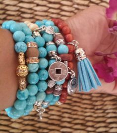 Turquoise beads bracelets in combination with amazonite, wood beads or carnelian. A must have.