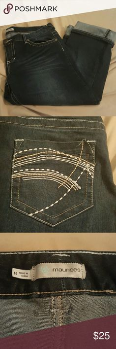 Denim Maurices Plus Size Capris Dark wash denim Maurices Capris, plus size 16. Very cute white and tan stitching. Comfy and stretchy. Rarely worn. New condition. Maurices Pants Capris