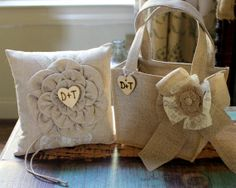 BURLAP Flower Girl Basket and Ring Bearer Pillow SET Rustic Beach or Shabby Chic Wedding Personalized on Etsy