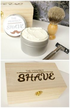 Give the gift of the perfect shave. A DIY engraved box filled with luxurious shaving supplies including a homemade shaving cream.