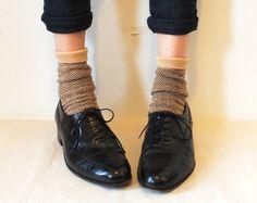 Vintage Black Leather Oxfords