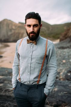 CHRIS + RUTH STYLED SHOOT // #wedding #style #groom #inspiration #bowtie #braces #suspenders #beach #indie