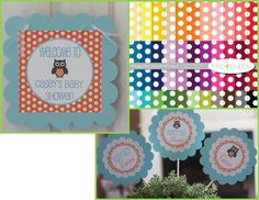 12   Orange Blue Baby Shower Owl Theme by DreamPartyPaperie, $12.00