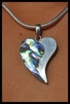 PENDANT- HANDMADE ABALONE OR PAWE SHELL/ STERLING SILVER .925