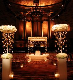 Floating Chuppah. Could be done with strung orchids instead!