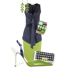 Navy & Lime, created by judieasley on Polyvore