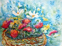Watercolor ORIGINAL Basket of summertime flowers by CheyAnneSexton take $35. off to Pinterest followers and I'll pay s&h too!