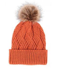 Paw Diamond Weave Knit Beanie with Faux Fur Pompom Orange Caps Hut Cute Winter Hats, Warm Winter Hats, Winter Hats For Women, Beanie Hats For Women, Baby Hats Knitting, Knitted Hats, Knit Crochet, Crochet Hats, Cute Beanies