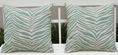 Accent Pillows Decorative Pillows Cushion Covers Toss Pillow Covers 20 x 20 Inches Zebra Print in Aqua on Natural. $36.00, via Etsy.