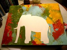 kids animal art - cut out animal shape (or whatever shape you choose), tape it to the canvas, let your child go crazy painting, touch up the white edges, and voila!