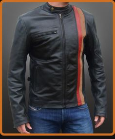 Scott Summers Cyclops X Men Cafe Racer Real Leather Motorcycle Biker Jacket  Product Details:  Material : Real Leather Color: Black with Orange and Brown Stripes Front: Snap tab Button Closure with Zipper opening Collar: Low Collar Cuffs: Zipper Cuffs Pockets:2 Horizontal zipper Chest Pockets and 2 waist vertical Zipper Pockets