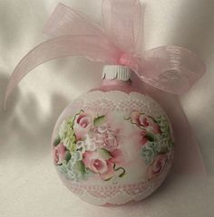 Hand Painted Christmas Ornament Cottage Chic Pink Rose Hydrangeas Shabby Lace HP