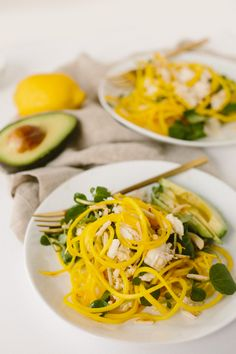 Jalapeno-Citrus Golden Beet Noodle Salad with Crab, Avocado and Toasted Almonds - Inspiralized Beet Recipes, Veggie Recipes, Healthy Recipes, Vegetarian Recipes, Quinoa Sweet Potato, Sweet Potato Noodles, Spiralized Beets Recipe, Spiral Slicer Recipes, Vegetable Sides