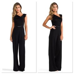 Black Halo Jackie O Jumpsuit What a fabulous alternative to the little black dress. And it's just as formal and feminine.  The popular Black Halo Jackie O is reimagined as a chic wide-leg jumpsuit, featuring the same famous details that leave customers feeling 5 pounds thinner and two inches taller.  Also includes a detachable genuine leather belt.  Crepe: 63% Polyamide/33% Viscose/4% Spandex Made in US Cap-sleeve jumpsuit featuring draped asymmetric neckline, scoop back, and belted waist…
