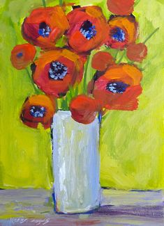 Red POPPIES Floral Contemporary Original by KarenMargulisFineArt, $45.00