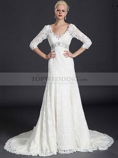 Three Quarter Sleeved Deep V Neck Allover Lace Wedding Gown with Beaded Waist