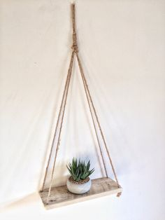 Floating Jute String Rope shelf Reclaimed Hanging Pallet Wood